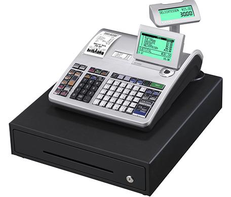 CASIO Registrierkasse SE-S3000 von vorne mit Kundenanzeige (GoBD/GDPdU-konform)