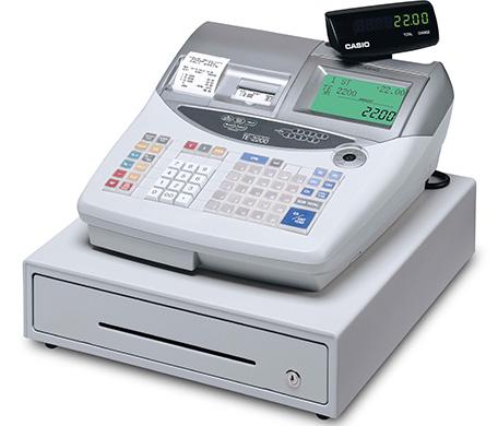 GoBD/GDPdU-konforme CASIO Registrierkasse TE-2200  mit Voll-Flachtastatur und 77 Artikelschnelltasten